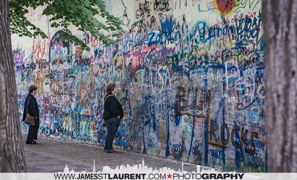 Visitors at the John Lennon Wall - 2007