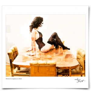 Woman in Lingerie on Table
