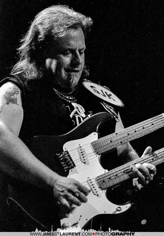 Smokin' Joe Kubek with a double-neck guitar