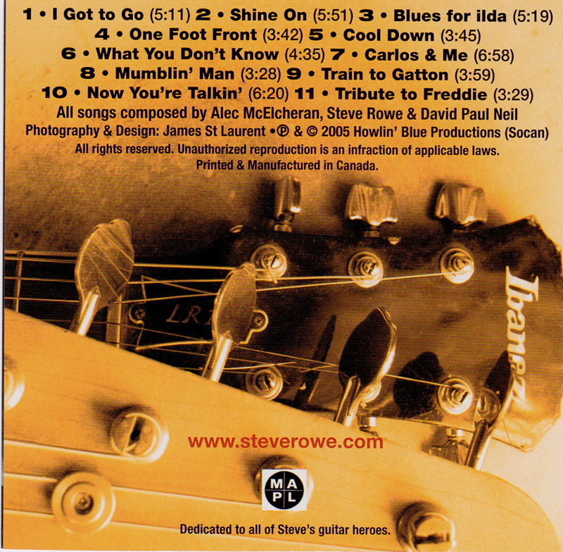 Steve Rowe Front Rowe Center CD Back Cover